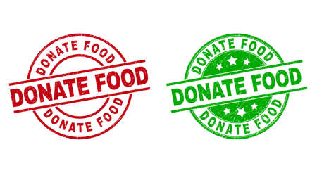 Round DONATE FOOD stamp badges. Flat vector grunge stamp watermarks with DONATE FOOD message inside circle and lines, using red and green colors. Stamp imprints with corroded style.