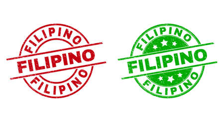 Round FILIPINO stamps. Flat vector grunge seal stamps with FILIPINO caption inside circle and lines, using red and green colors. Watermarks with unclean style.