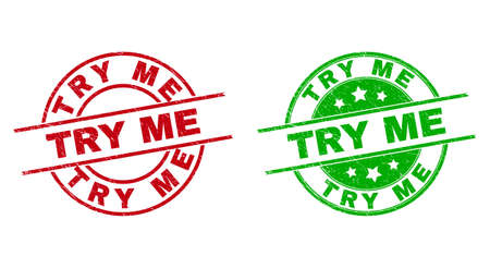 Round TRY ME seal stamps. Flat vector distress stamps with TRY ME text inside circle and lines, using red and green colors. Rubber imitations with distress texture.