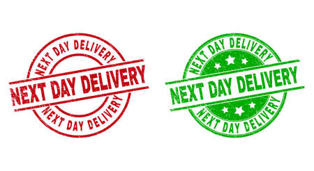Round NEXT DAY DELIVERY stamp badges. Flat vector scratched seals with NEXT DAY DELIVERY message inside circle and lines, using red and green colors. Stamp imprints with grunge surface.