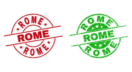 Round ROME stamp badges. Flat vector grunge stamp watermarks with ROME phrase inside circle and lines, using red and green colors. Watermarks with unclean style.