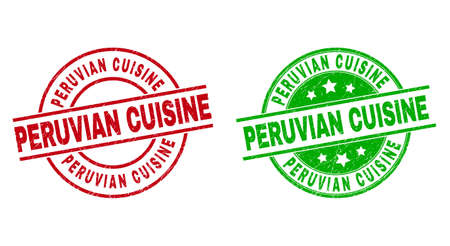 Round PERUVIAN CUISINE stamps. Flat vector textured seal stamps with PERUVIAN CUISINE message inside circle and lines, using red and green colors. Stamp imprints with unclean surface.