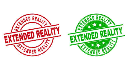 Round EXTENDED REALITY seal stamps. Flat vector scratched seal stamps with EXTENDED REALITY title inside circle and lines, using red and green colors. Stamp imprints with distress surface.