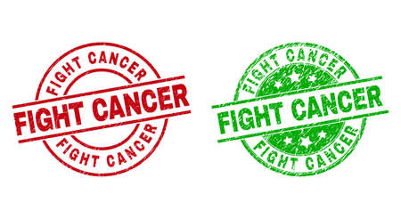 Round FIGHT CANCER watermarks. Flat vector grunge stamp watermarks with FIGHT CANCER message inside circle and lines, in red and green colors. Watermarks with scratched surface.