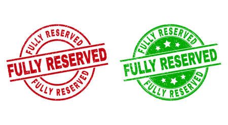 Round FULLY RESERVED watermarks. Flat vector textured stamp watermarks with FULLY RESERVED text inside circle and lines, in red and green colors. Stamp imprints with scratched style.