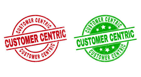 Round CUSTOMER CENTRIC watermarks. Flat vector textured stamp watermarks with CUSTOMER CENTRIC phrase inside circle and lines, using red and green colors. Watermarks with distress style.