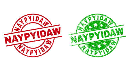 Round NAYPYIDAW seal stamps. Flat vector grunge stamps with NAYPYIDAW text inside circle and lines, in red and green colors. Rubber imitations with unclean style.