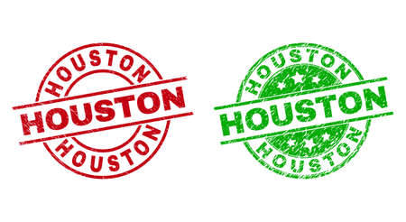 Round HOUSTON seal stamps. Flat vector textured seal stamps with HOUSTON phrase inside circle and lines, in red and green colors. Watermarks with scratched surface.