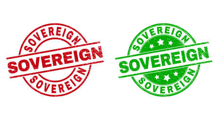 Round SOVEREIGN seal stamps. Flat vector distress stamps with SOVEREIGN message inside circle and lines, using red and green colors. Watermarks with distress style.