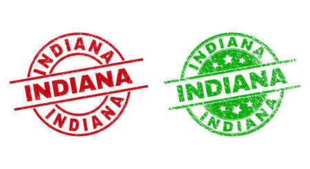 Round INDIANA seal stamps. Flat vector scratched seal stamps with INDIANA text inside circle and lines, using red and green colors. Rubber imitations with unclean texture.