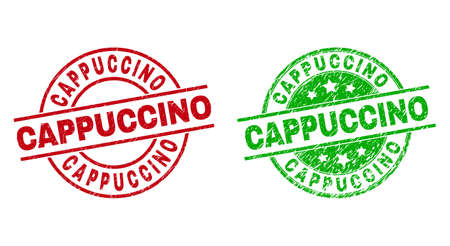 Round CAPPUCCINO stamp badges. Flat vector grunge stamp watermarks with CAPPUCCINO message inside circle and lines, in red and green colors. Stamp imprints with corroded style.