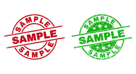 Round SAMPLE watermarks. Flat vector distress stamp watermarks with SAMPLE message inside circle and lines, using red and green colors. Watermarks with distress surface.