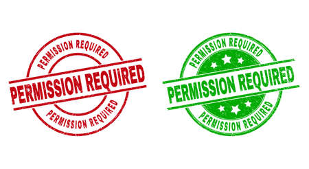 Round PERMISSION REQUIRED watermarks. Flat vector distress stamp watermarks with PERMISSION REQUIRED message inside circle and lines, using red and green colors. Stamp imprints with unclean style.