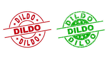 Round DILDO seal stamps. Flat vector grunge seal stamps with DILDO phrase inside circle and lines, using red and green colors. Rubber imitations with unclean texture.