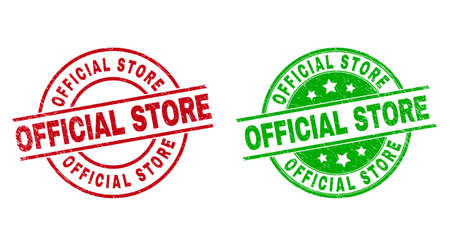 Round OFFICIAL STORE seal stamps. Flat vector grunge stamps with OFFICIAL STORE caption inside circle and lines, using red and green colors. Stamp imprints with grunge style.  イラスト・ベクター素材