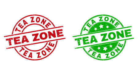 Round TEA ZONE watermarks. Flat vector scratched stamp watermarks with TEA ZONE message inside circle and lines, in red and green colors. Watermarks with unclean style.