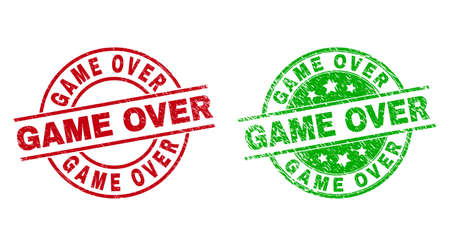 Round GAME OVER seals. Flat vector scratched seals with GAME OVER text inside circle and lines, in red and green colors. Watermarks with scratched texture.