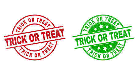 Round TRICK OR TREAT stamps. Flat vector distress stamps with TRICK OR TREAT message inside circle and lines, in red and green colors. Rubber imitations with distress style.