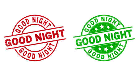 Round GOOD NIGHT seal stamps. Flat vector grunge seal stamps with GOOD NIGHT caption inside circle and lines, in red and green colors. Watermarks with scratched style.