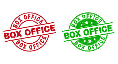 Round BOX OFFICE stamps. Flat vector scratched stamps with BOX OFFICE title inside circle and lines, using red and green colors. Stamp imprints with scratched style.