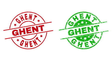 Round GHENT stamps. Flat vector grunge stamp watermarks with GHENT caption inside circle and lines, using red and green colors. Watermarks with grunge texture.  イラスト・ベクター素材