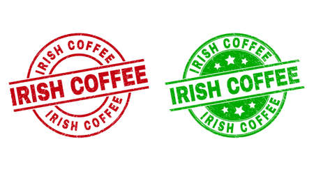 Round IRISH COFFEE stamp badges. Flat vector grunge stamp watermarks with IRISH COFFEE caption inside circle and lines, using red and green colors. Watermarks with corroded style.  イラスト・ベクター素材