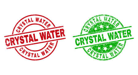 Round CRYSTAL WATER seal stamps. Flat vector distress stamp watermarks with CRYSTAL WATER title inside circle and lines, using red and green colors. Watermarks with unclean style.