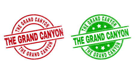 Round THE GRAND CANYON stamp badges. Flat vector textured badges with THE GRAND CANYON text inside circle and lines, in red and green colors. Stamp imprints with distress surface.