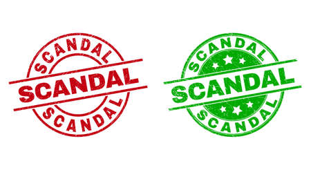 Round SCANDAL seals. Flat vector distress stamp watermarks with SCANDAL phrase inside circle and lines, in red and green colors. Stamp imprints with unclean surface.  イラスト・ベクター素材