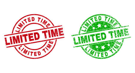 Round LIMITED TIME badge stamps. Flat vector distress stamp watermarks with LIMITED TIME text inside circle and lines, using red and green colors. Stamp imprints with corroded surface.