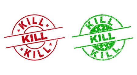 Round KILL seal stamps. Flat vector distress seal stamps with KILL phrase inside circle and lines, in red and green colors. Rubber imitations with unclean surface.