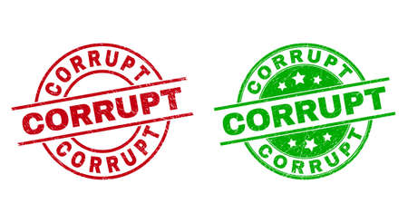Round CORRUPT stamps. Flat vector distress seal stamps with CORRUPT caption inside circle and lines, in red and green colors. Stamp imprints with distress texture.