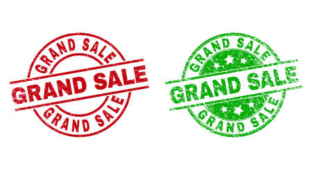 Round GRAND SALE stamp badges. Flat vector grunge stamp watermarks with GRAND SALE text inside circle and lines, using red and green colors. Stamp imprints with corroded texture.