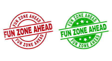 Round FUN ZONE AHEAD badge stamps. Flat vector distress stamps with FUN ZONE AHEAD phrase inside circle and lines, in red and green colors. Stamp imprints with distress surface.