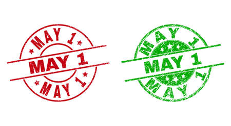 Round MAY 1 watermarks. Flat vector grunge stamp watermarks with MAY 1 text inside circle and lines, using red and green colors. Watermarks with corroded texture. 矢量图像