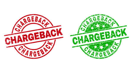 Round CHARGEBACK seal stamps. Flat vector grunge seal stamps with CHARGEBACK caption inside circle and lines, using red and green colors. Rubber imitations with corroded texture. 矢量图像