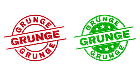 Round GRUNGE watermarks. Flat vector grunge stamp watermarks with GRUNGE title inside circle and lines, in red and green colors. Stamp imprints with scratched texture. 矢量图像