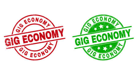 Round GIG ECONOMY stamp badges. Flat vector textured badges with GIG ECONOMY title inside circle and lines, using red and green colors. Stamp imprints with scratched texture. 矢量图像