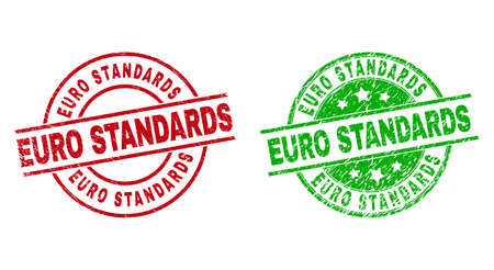Round EURO STANDARDS stamp badges. Flat vector grunge badges with EURO STANDARDS message inside circle and lines, using red and green colors. Watermarks with grunge surface. 矢量图像