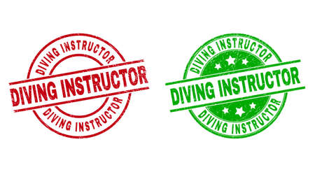 Round DIVING INSTRUCTOR watermarks. Flat vector scratched stamp watermarks with DIVING INSTRUCTOR caption inside circle and lines, in red and green colors. Rubber imitations with scratched style.