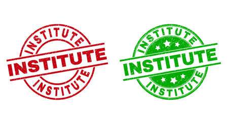 Round INSTITUTE watermarks. Flat vector grunge seals with INSTITUTE message inside circle and lines, using red and green colors. Watermarks with grunge texture.