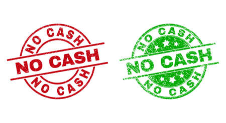 Round NO CASH stamp badges. Flat vector scratched seals with NO CASH title inside circle and lines, in red and green colors. Stamp imprints with scratched texture.