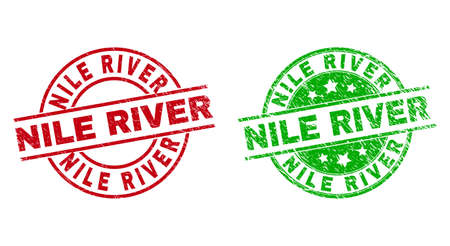 Round NILE RIVER watermarks. Flat vector scratched badges with NILE RIVER title inside circle and lines, in red and green colors. Watermarks with distress texture.