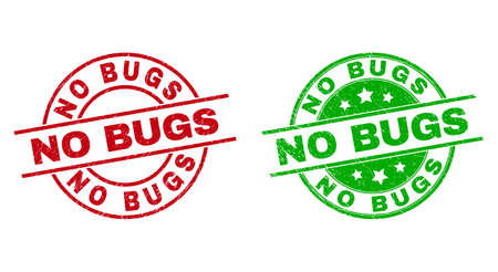 Round NO BUGS stamp badges. Flat vector grunge badges with NO BUGS caption inside circle and lines, in red and green colors. Watermarks with grunge surface.