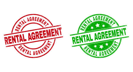 Round RENTAL AGREEMENT stamp badges. Flat vector scratched stamp watermarks with RENTAL AGREEMENT caption inside circle and lines, using red and green colors. Watermarks with unclean style.
