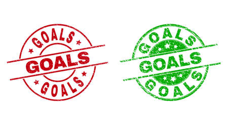 Round GOALS seal stamps. Flat vector textured seal stamps with GOALS text inside circle and lines, using red and green colors. Watermarks with scratched style.