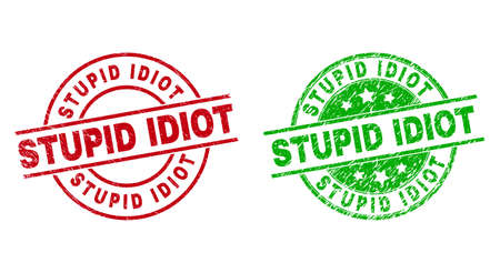 Round STUPID IDIOT stamps. Flat vector grunge stamp watermarks with STUPID IDIOT phrase inside circle and lines, in red and green colors. Stamp imprints with grunge surface.