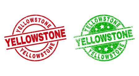Round YELLOWSTONE stamp badges. Flat vector textured stamp watermarks with YELLOWSTONE text inside circle and lines, using red and green colors. Stamp imprints with unclean surface.