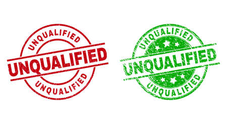 Round UNQUALIFIED stamp badges. Flat vector textured stamp watermarks with UNQUALIFIED message inside circle and lines, using red and green colors. Stamp imprints with corroded surface.
