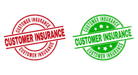 Round CUSTOMER INSURANCE badge stamps. Flat vector grunge stamps with CUSTOMER INSURANCE text inside circle and lines, using red and green colors. Watermarks with grunge style.